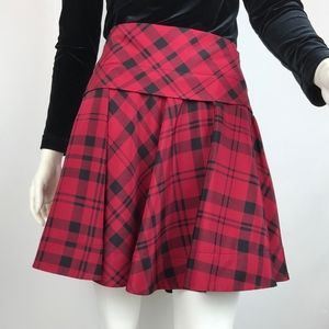 DKNY Silk Red Plaid Flared Circle Mini Skirt